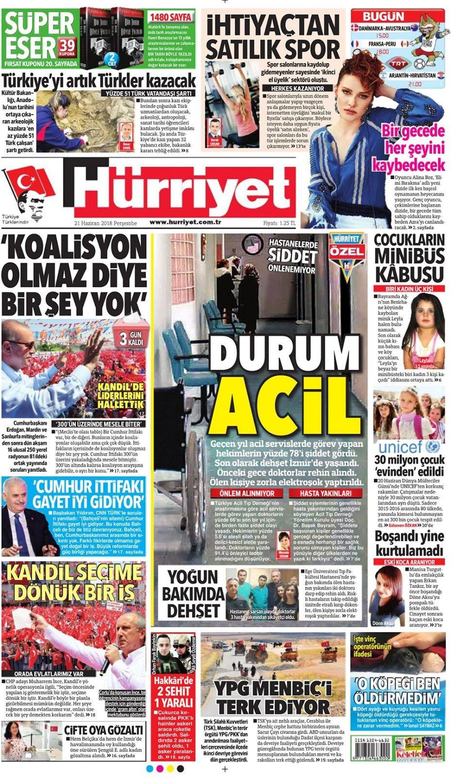 Günün gazete manşetleri (21 Haziran 2018)
