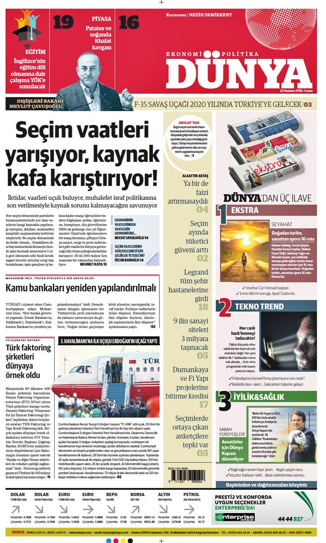 Günün gazete manşetleri (22 Haziran 2018)