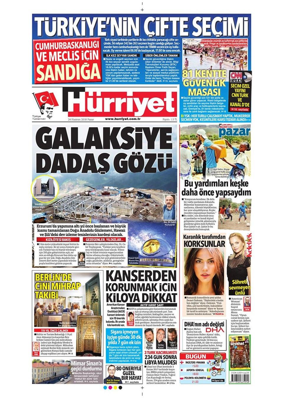 Günün gazete manşetleri (24 Haziran 2018)