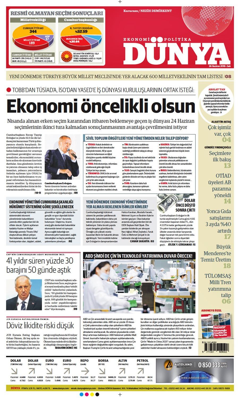 Günün gazete manşetleri (26 Haziran 2018)