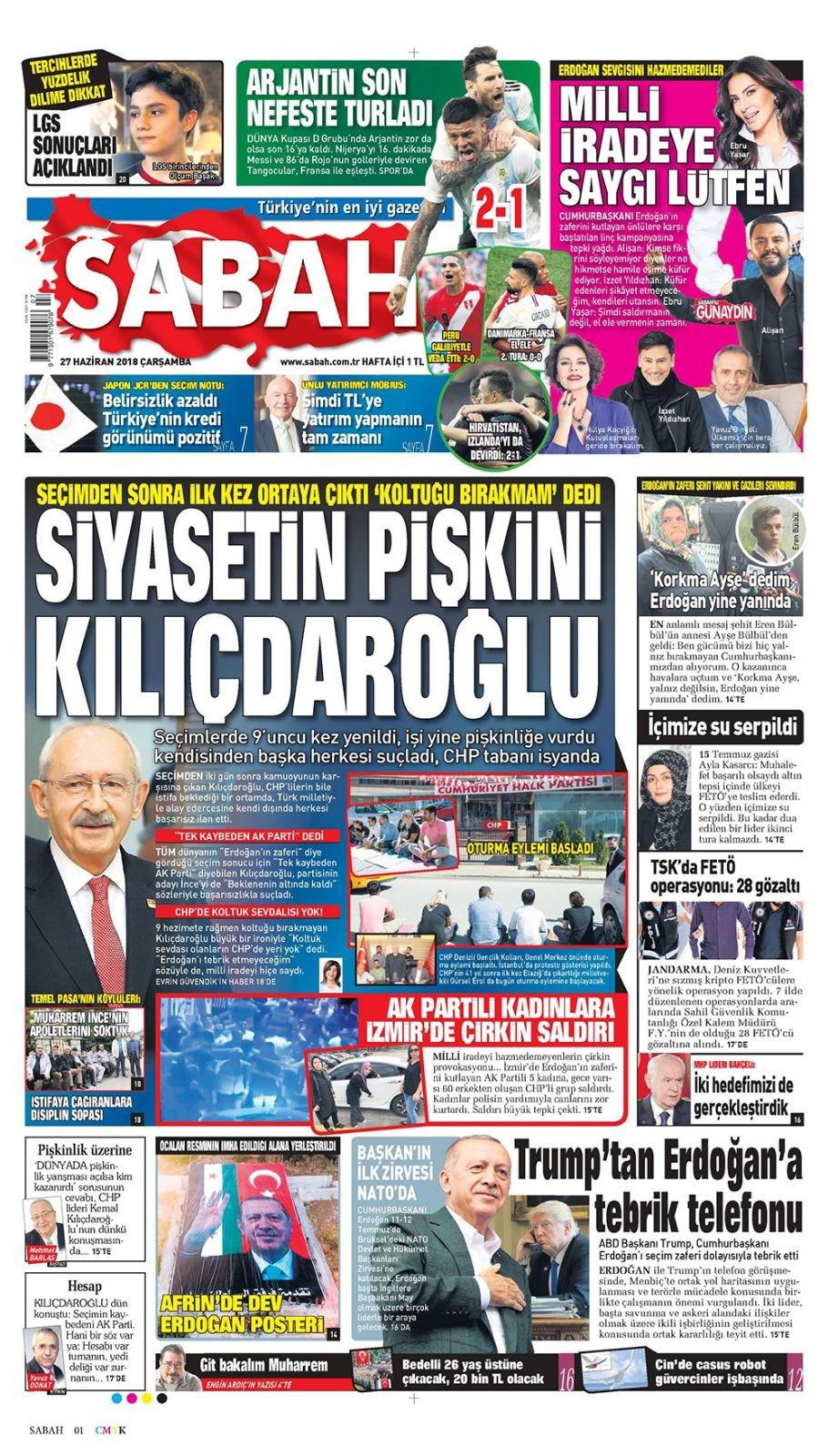 Günün gazete manşetleri (27 Haziran 2018)
