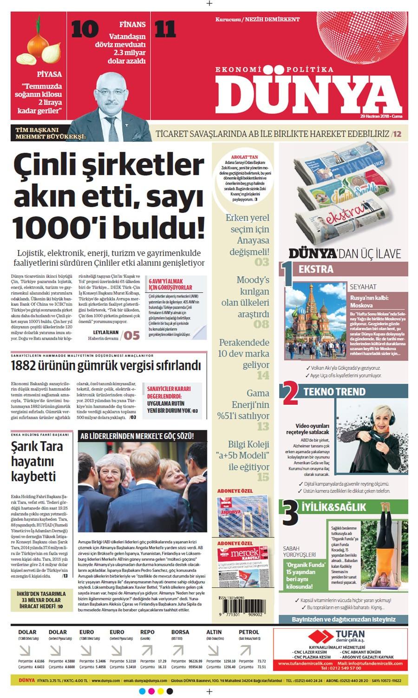 Günün gazete manşetleri (29 Haziran 2018)