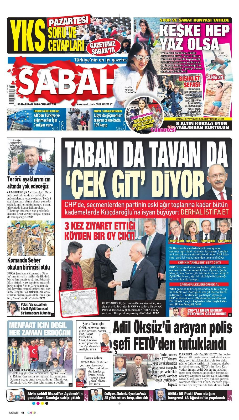 Günün gazete manşetleri (30 Haziran 2018)
