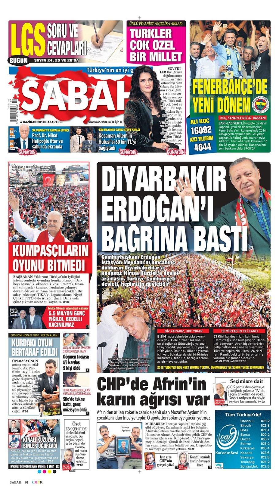 Günün gazete manşetleri (4 Haziran 2018)