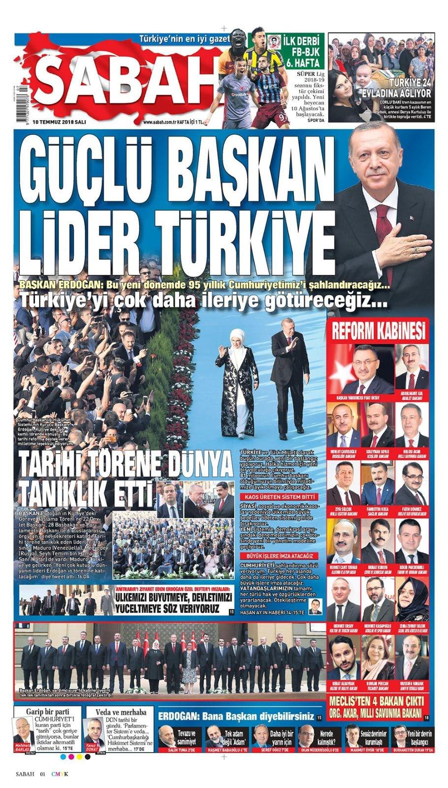 Günün gazete manşetleri (10 Temmuz 2018)