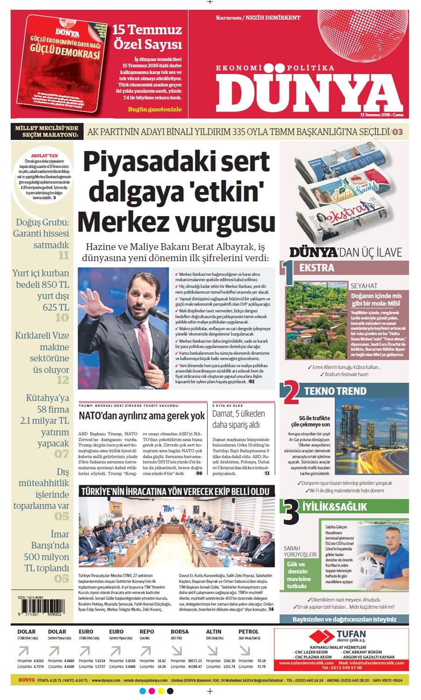 Günün gazete manşetleri (13 Temmuz 2018)