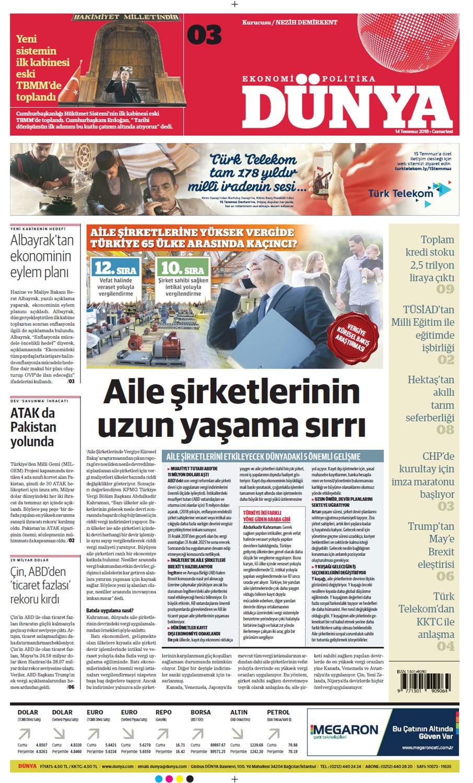 Günün gazete manşetleri (14 Temmuz 2018)