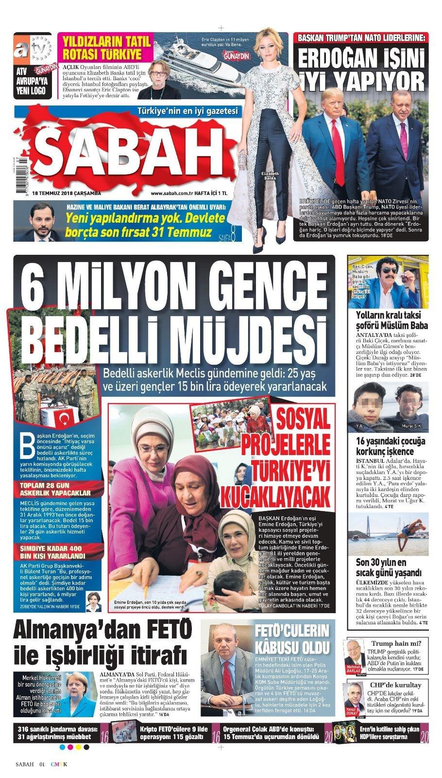 Günün gazete manşetleri (18 Temmuz 2018)