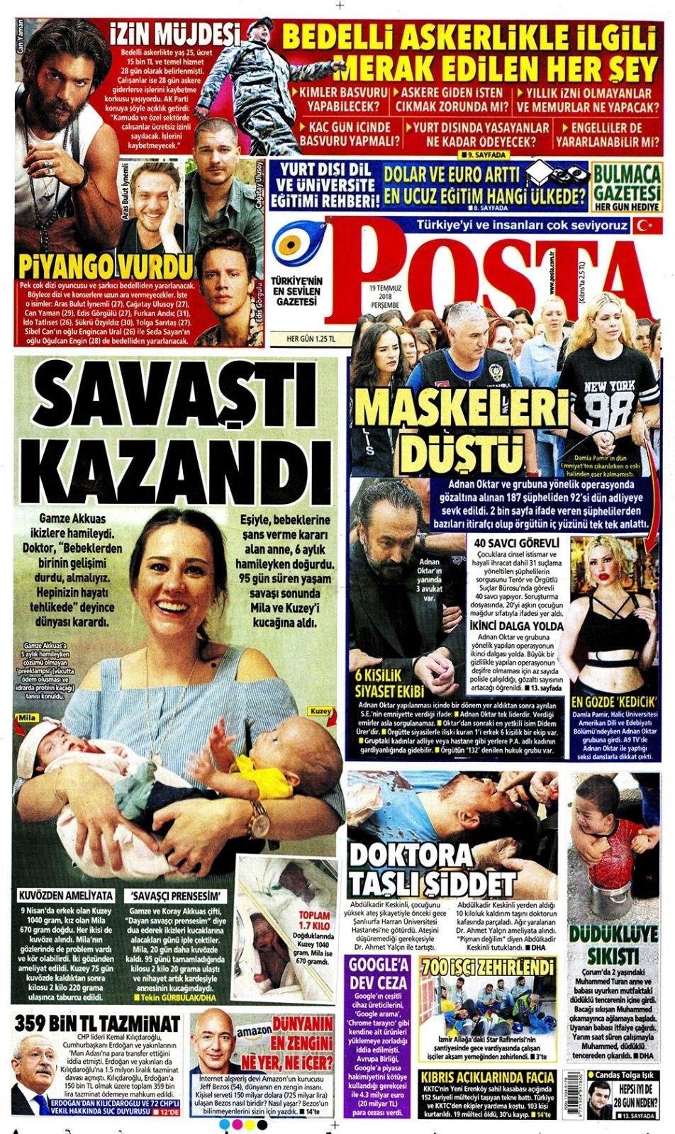 Günün gazete manşetleri (19 Temmuz 2018)