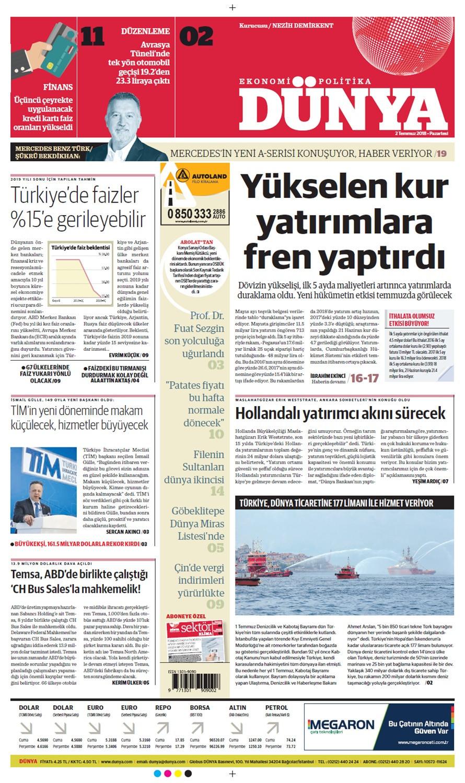 Günün gazete manşetleri (2 Temmuz 2018)