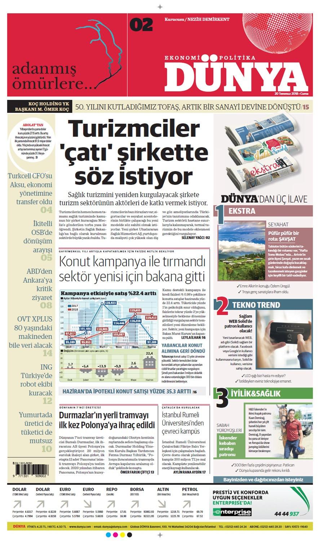 Günün gazete manşetleri (20 Temmuz 2018)