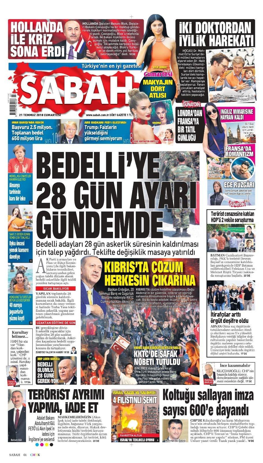 Günün gazete manşetleri (21 Temmuz 2018)