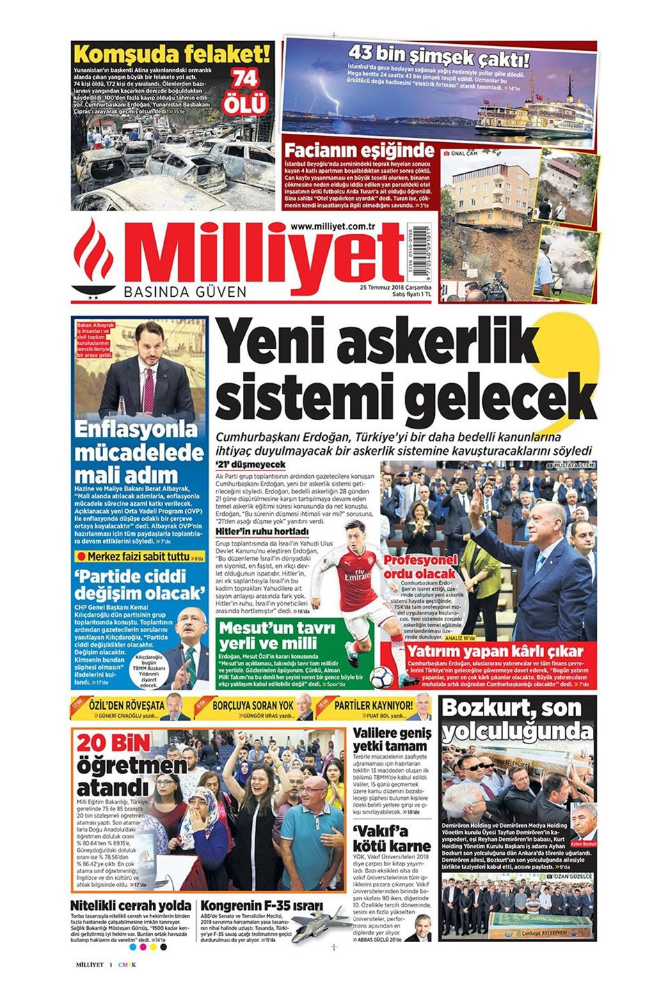 Günün gazete manşetleri (25 Temmuz 2018)