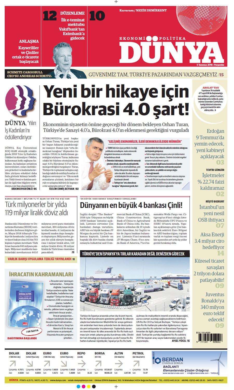 Günün gazete manşetleri (5 Temmuz 2018) - Sayfa 1