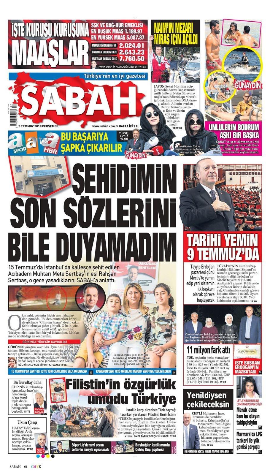 Günün gazete manşetleri (5 Temmuz 2018)