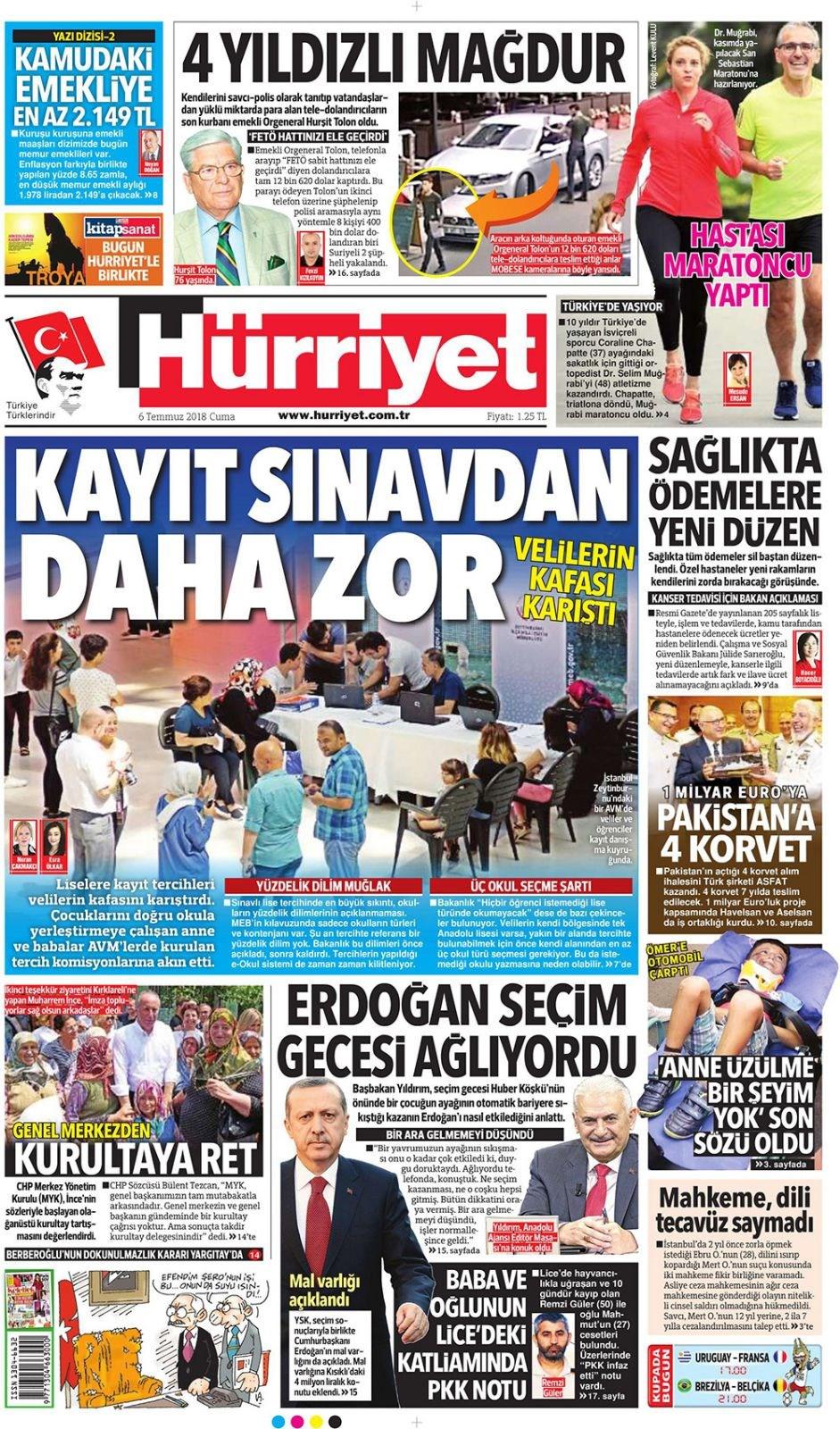 Günün gazete manşetleri (6 Temmuz 2018)
