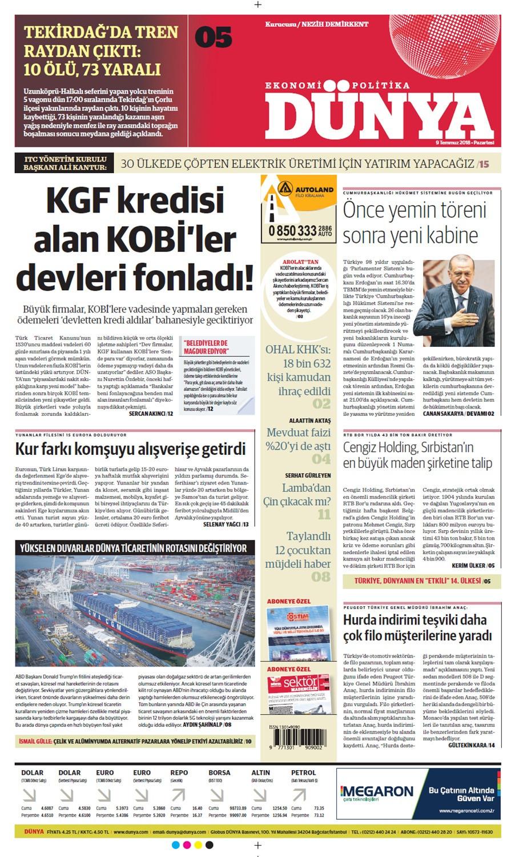 Günün gazete manşetleri (9 Temmuz 2018)
