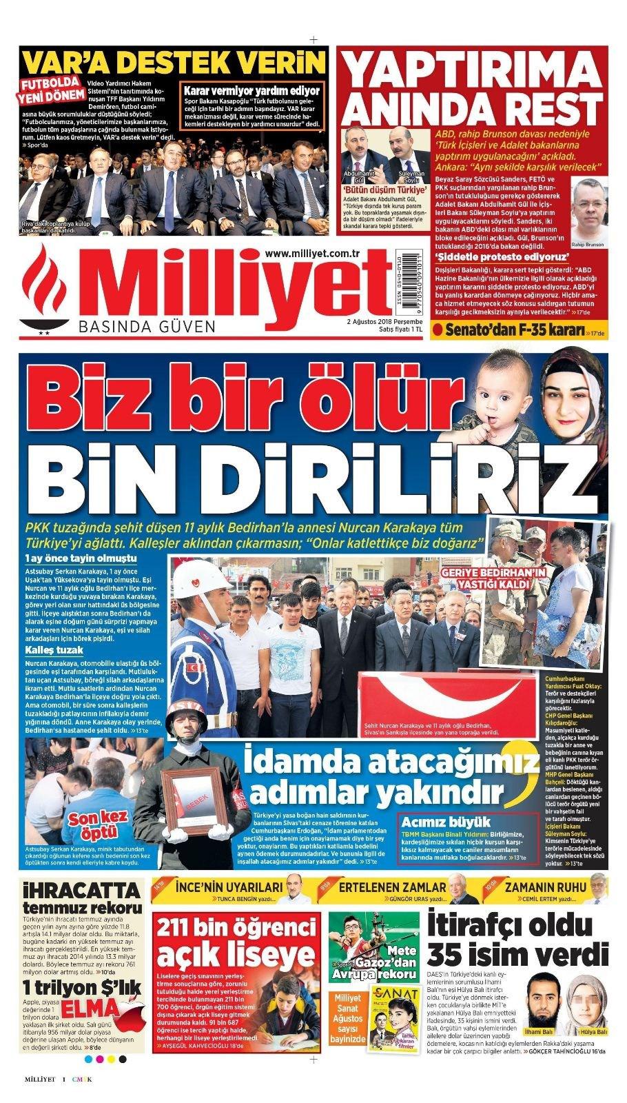 Günün gazete manşetleri (2 Ağustos 2018)