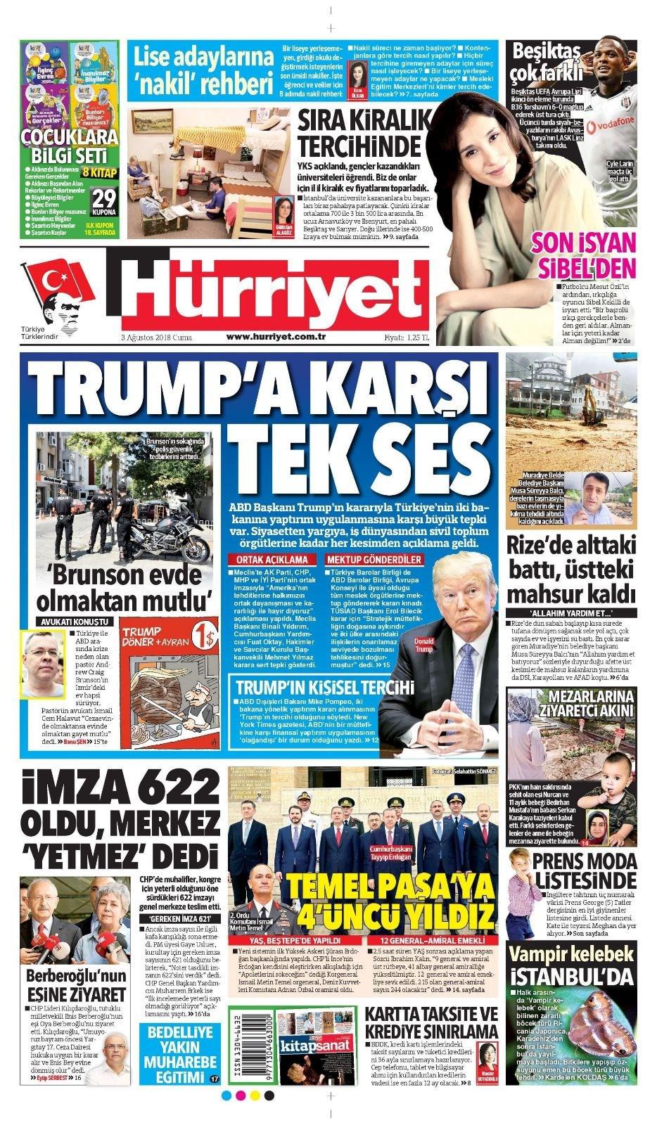 Günün gazete manşetleri (3 Ağustos 2018)