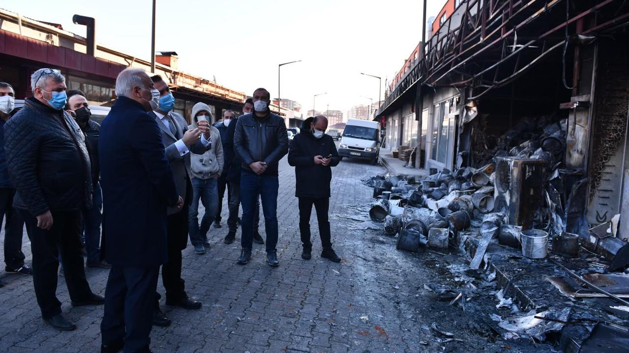 Trabzon'da yanan işyerlerine Zorluoğlu'ndan destek sözü
