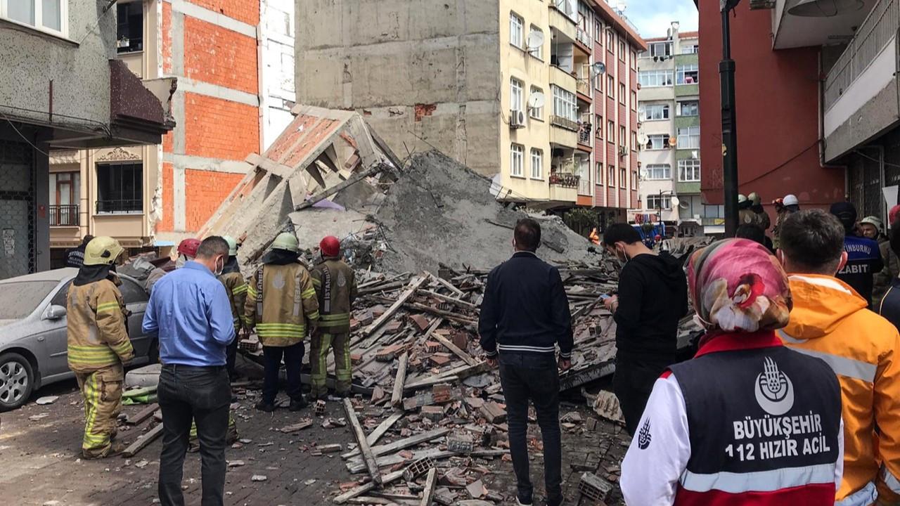 İstanbul'da boşaltılan bina çöktü